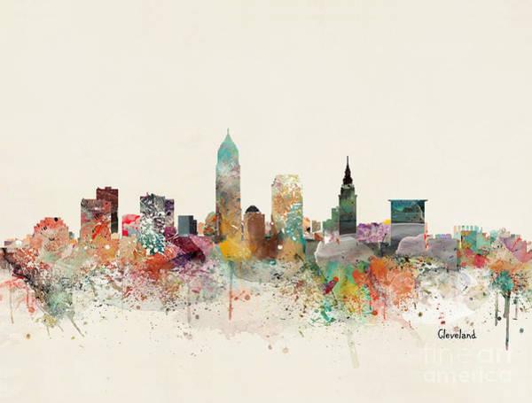 Ohio Wall Art - Painting - Cleveland City Skyline by Bri Buckley