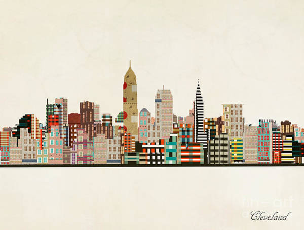 Wall Art - Painting - Cleveland Ohio Skyline by Bri Buckley