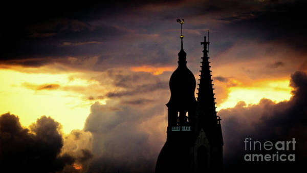 Photograph - Cloudscape Of Orange Sunset Old Town Riga Latvia by Raimond Klavins