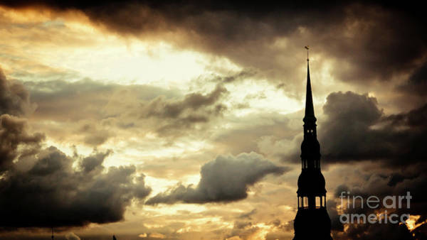 Photograph - Cloudscape Of Orange Sunset Riga Latvia by Raimond Klavins