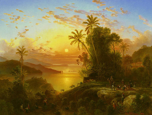 Wall Art - Painting - Coast Of La Guaira At Sunset by Ferdinand Bellermann