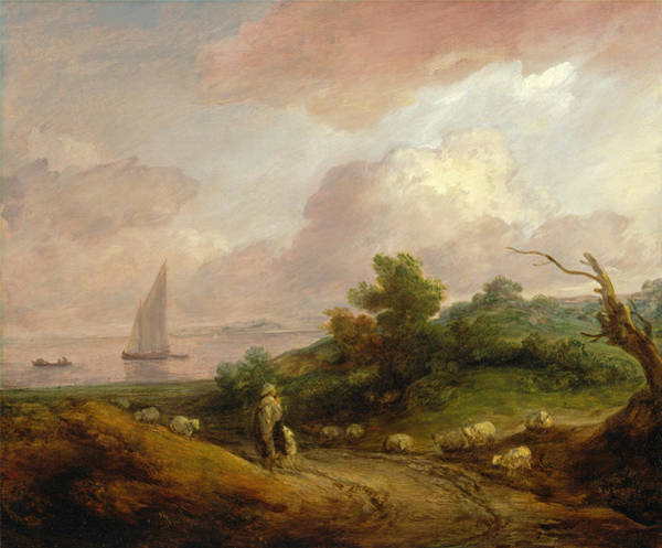 Thomas Gainsborough Wall Art - Painting - Coastal Landscape With A Shepherd And His Flock by Thomas Gainsborough