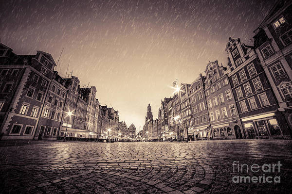Tenement Photograph - Cobblestone Historic Old Town In Rain At Night Wroclaw by Michal Bednarek