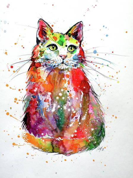 Wall Art - Painting - Colorful Cat V by Kovacs Anna Brigitta