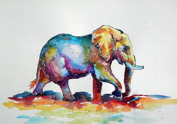 Wild Life Painting - Colorful Elephant by Kovacs Anna Brigitta