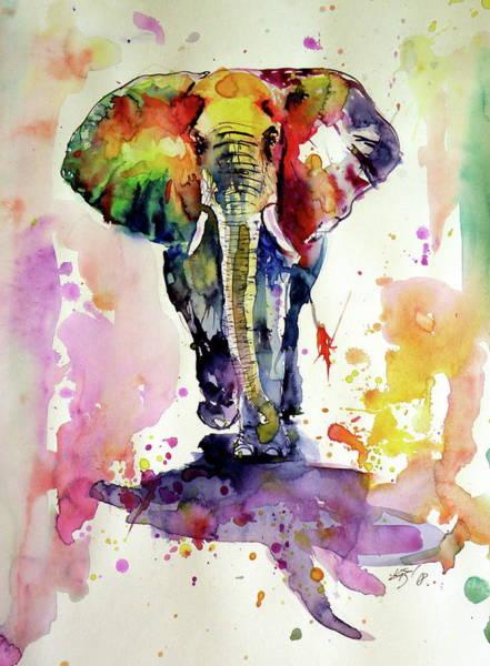 Wall Art - Painting - Colorful Elephant Walking by Kovacs Anna Brigitta