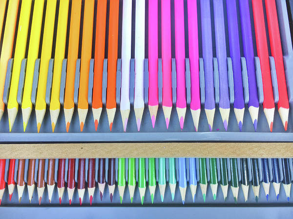 Rainbow Row Photograph - Colourful Wooden Pencils  by Tom Gowanlock