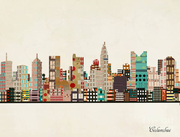 Columbus Wall Art - Painting - Columbus Ohio Skyline by Bri Buckley
