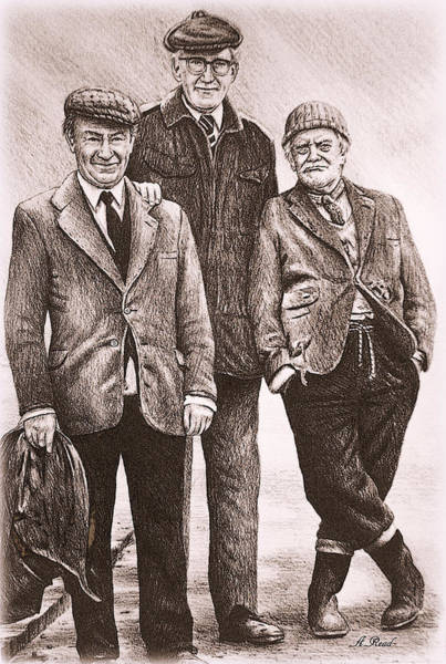 Trio Drawing - Compo Clegg And Foggy by Andrew Read