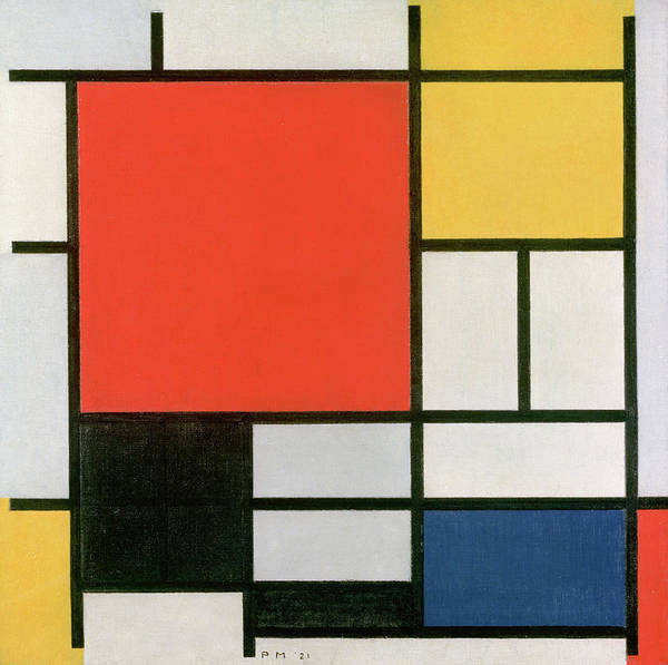 De Stijl Painting - Composition In Red, Yellow, Blue And Black by Piet Mondrian
