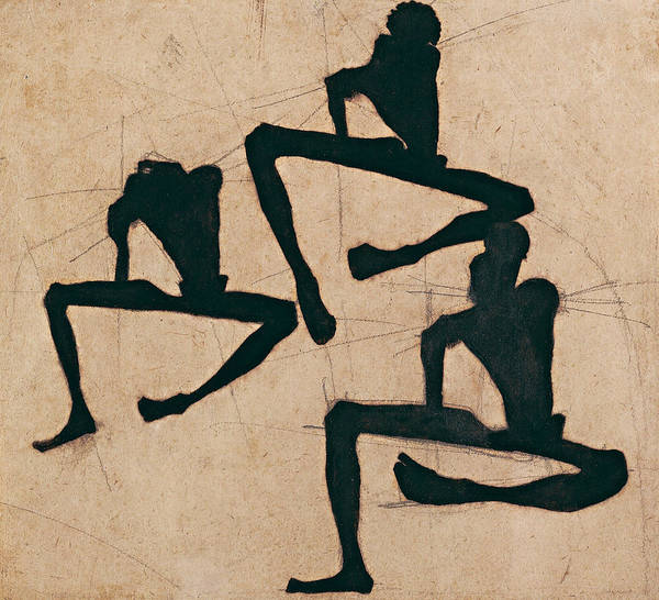 Male Nude Drawing - Composition With Three Male Nudes by Egon Schiele