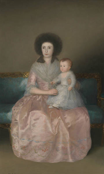 Painting - Condesa De Altamira And Her Daughter, Maria Agustina by Francisco Goya