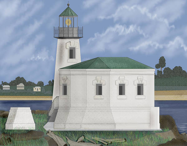 Wall Art - Painting - Coquille River Lighthouse At Bandon Oregon by Anne Norskog