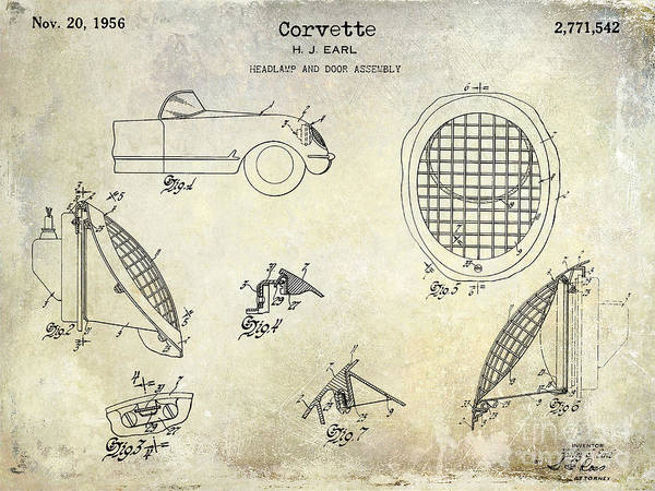 Sportscar Photograph - Corvette Headlight Patent by Jon Neidert