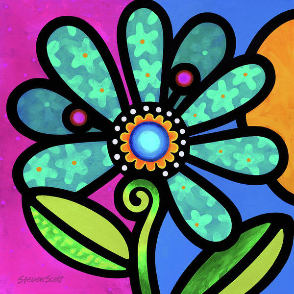 Wall Art - Painting - Cosmic Daisy In Aqua by Steven Scott