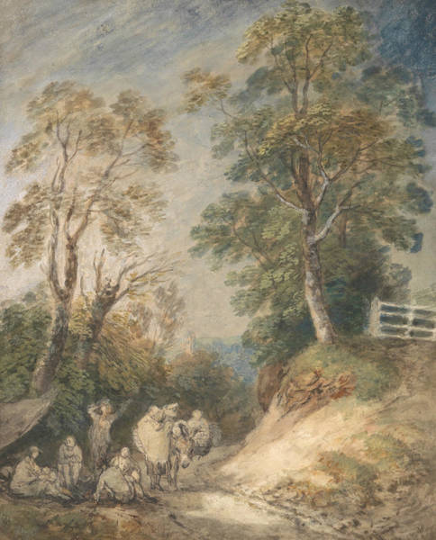 Painting - Country Lane With Gypsies Resting by Thomas Gainsborough