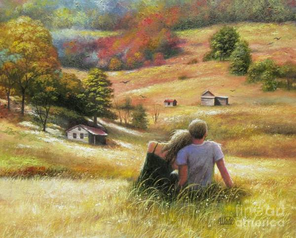 Country Wedding Painting - Country Lovers In Autumn by Vickie Wade