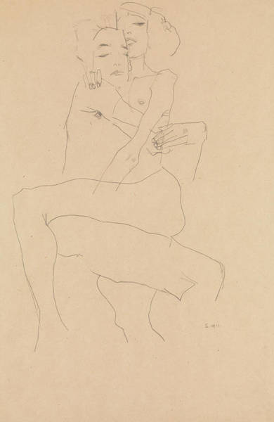 Austrian Drawing - Couple Embracing by Egon Schiele