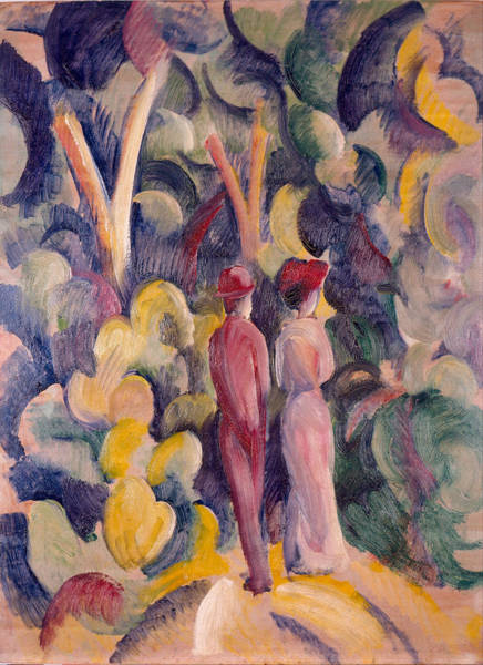 Painting - Couple On The Forest Track by August Macke
