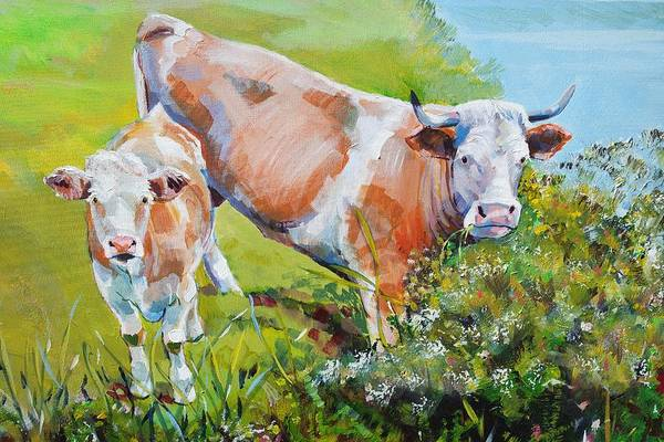 Cow And Calf Painting Art Print