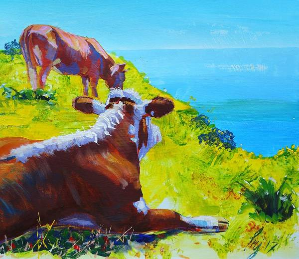 Painting - Cow Lying Down by Mike Jory