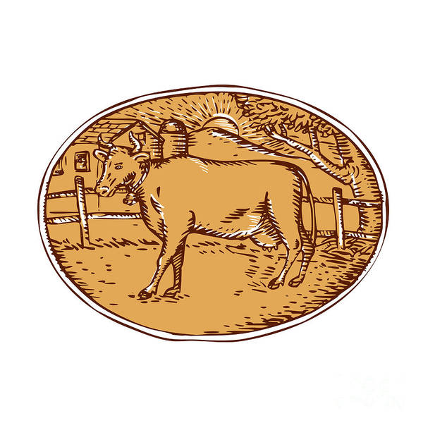 Ranch Digital Art - Cow Ranch Farm House Oval Woodcut by Aloysius Patrimonio