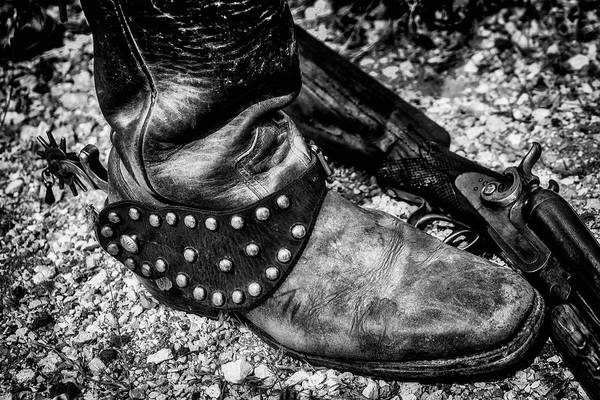 Gunfight Wall Art - Photograph - Cowboy Boot Wirth Spur And Shotgun by Garry Gay