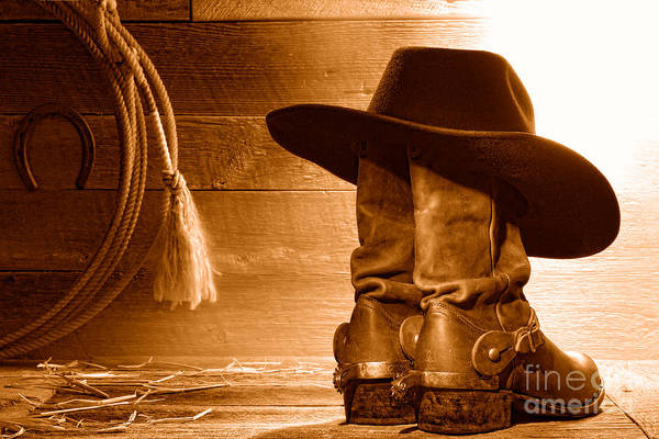 Wall Art - Photograph - Cowboy Hat On Boots - Sepia by Olivier Le Queinec