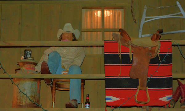 Jim Richards Photograph - Cowboy On Porch by Richard Jenkins