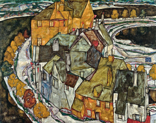 Wall Art - Painting - Crescent Of Houses II Island Town 1915 by Egon Schiele