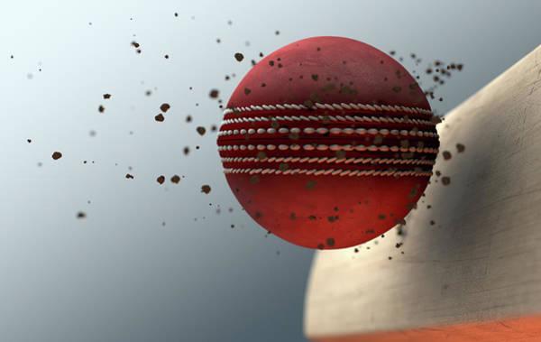 Wall Art - Digital Art - Cricket Ball Striking Bat In Slow Motion by Allan Swart