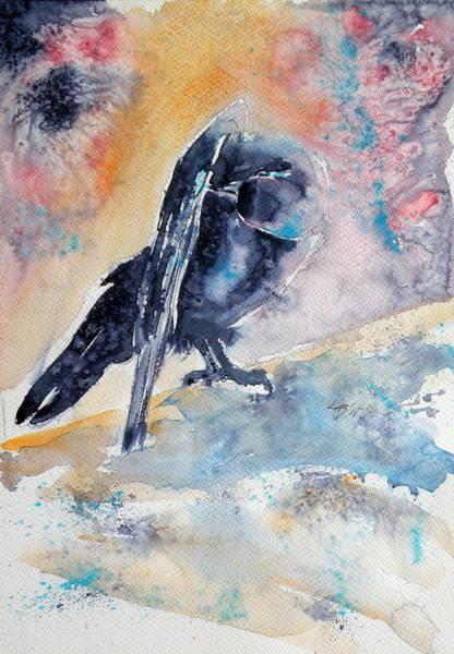Wild Life Painting - Crow In Autumn by Kovacs Anna Brigitta