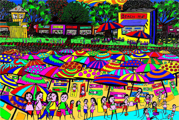 Wall Art - Digital Art - Crowded Beach by Karen Elzinga