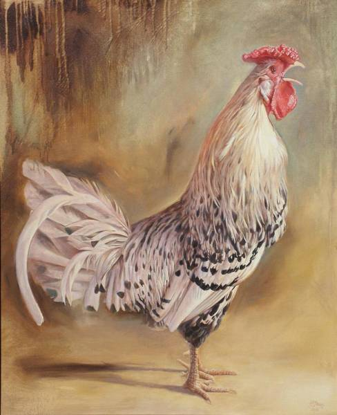 Painting - Crowing Rooster by Hans Droog