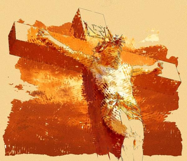 Easter Sunday Digital Art - Crucifix by Elena Kosvincheva