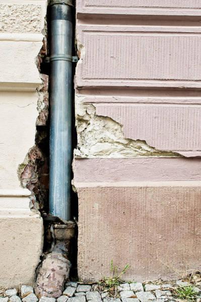 Drainage Photograph - Crumbling Wall by Tom Gowanlock