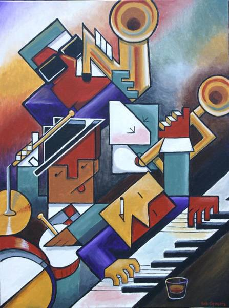 Piano Bar Painting - Cubist Jazz And A Real Shot Of Whiskey by Bob Gregory
