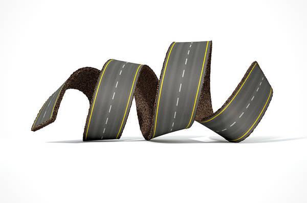 Twisted Digital Art - Curled Road by Allan Swart