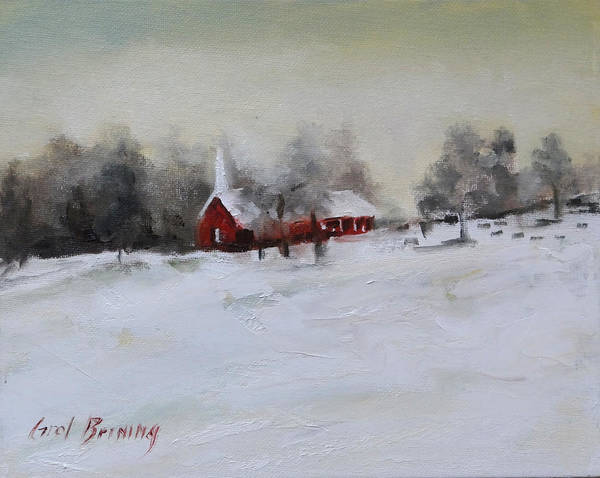 Church Yard Painting - Cypress In The Snow by Carol Berning