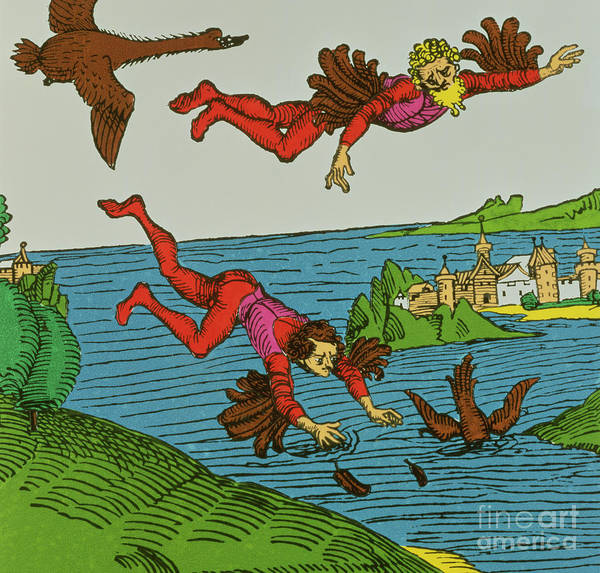 Wax Painting - Daedalus And Icarus by German School