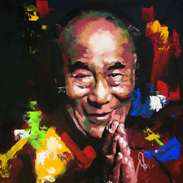 Abstract People Painting - Dalai Lama by Richard Day