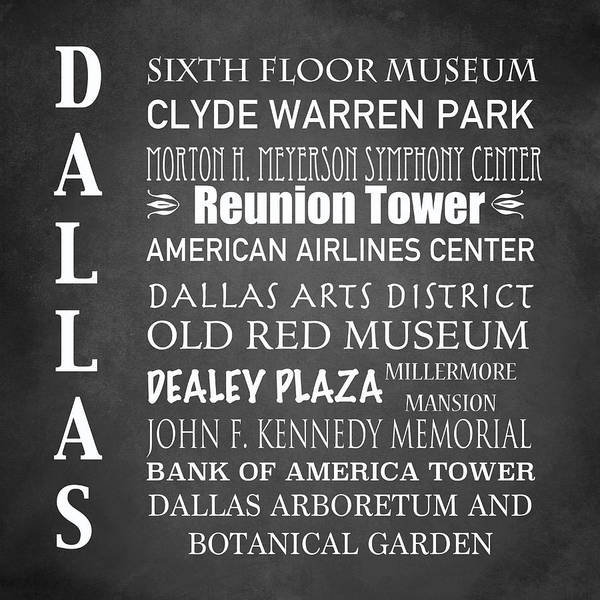 Wall Art - Digital Art - Dallas Famous Landmarks by Patricia Lintner
