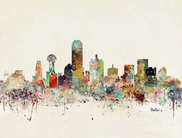 Wall Art - Painting - Dallas Skyline by Bri Buckley