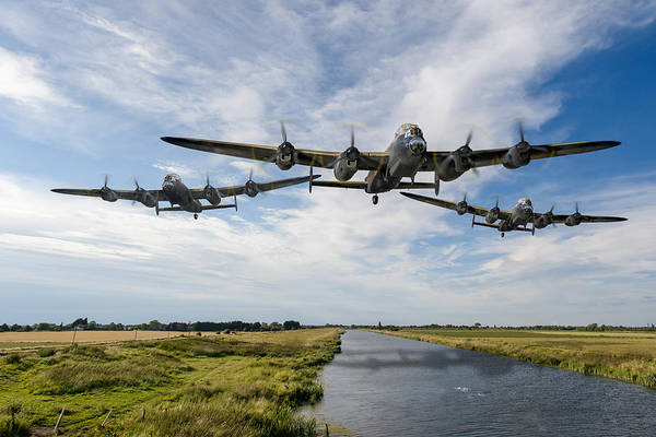 Digital Art - Dambusters Practising Low Level Flying by Gary Eason