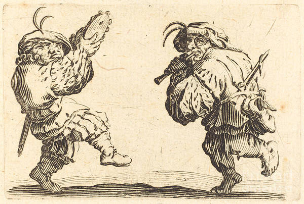 Wall Art - Drawing - Dancers With Flute And Tambourine by Jacques Callot