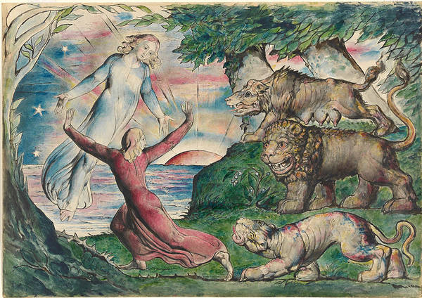 Hells Angels Wall Art - Painting - Dante Running From The Three Beasts by William Blake
