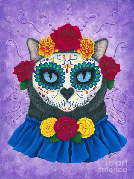 Painting - Day Of The Dead Cat Gal - Sugar Skull Cat by Carrie Hawks