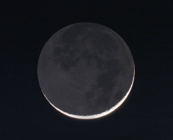 Sliver Photograph - 1 Day Old Moon With Earthshine by Eckhard Slawik