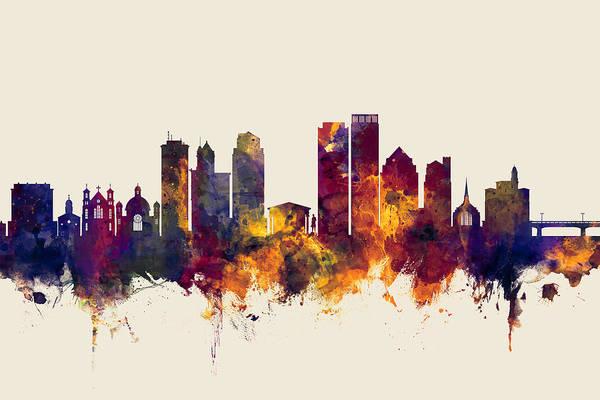 Wall Art - Digital Art - Dayton Ohio Skyline by Michael Tompsett