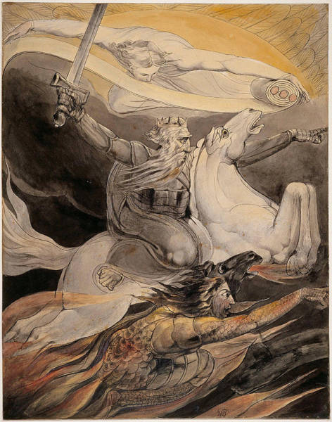William Blake Drawing - Death On A Pale Horse by William Blake